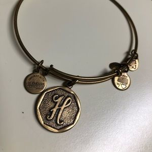 "Alex & Ani - ""H"" bangle.  Gold tone"